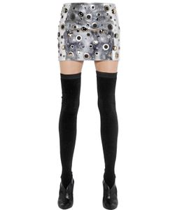 Sonia Rykiel | Metallic Eyelets Mirror Leather Skirt