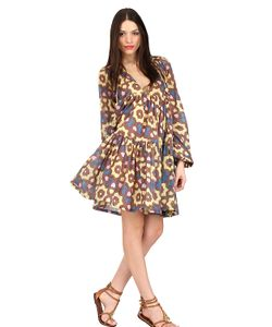 Yvonne S | Printed Cotton Mini Hippy Dress