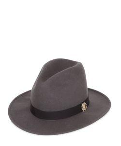 Roberto Cavalli   Wool Felt Brim Hat W/ Metal Logo
