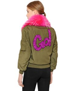 Forte Couture | Cotton Canvas Bomber W/ Murmansky Fur