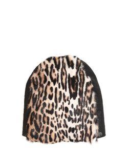 Cutuli Cult | Leopard Printed Fur Leather Beanie Hat