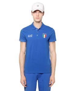 EA7 Emporio Armani | Italian Team Stretch Cotton Jersey Polo