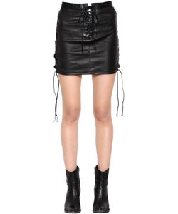 Unravel | Lace-Up Leather Mini Skirt