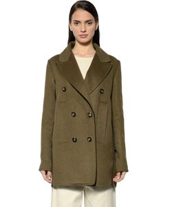 Sportmax | Double Breasted Wool Angora Peacoat