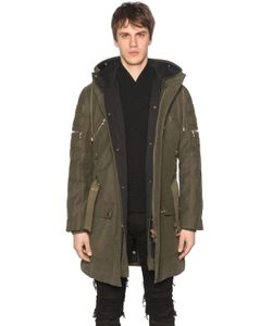 Balmain | Hooded Zip Canvas Parka Coat W Lining
