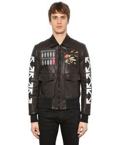 Off-White | Airbrushed Leather Bomber Jacket