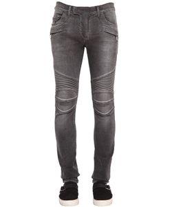 Balmain | 16cm Biker Washed Stretch Denim Jeans