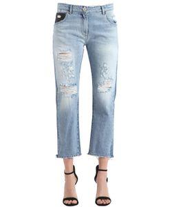 John Richmond | Baggy Fit Broken Cotton Denim Jeans