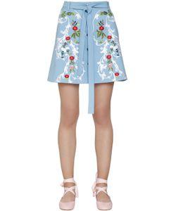 Vivetta | Embroide Stretch Cotton Mini Skirt