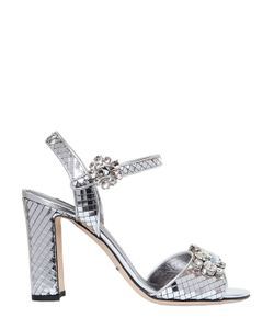 Dolce & Gabbana | 85mm Swarovski Metallic Leather Sandals