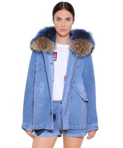 Mr & Mrs Italy | Mini Cotton Denim Parka W/ Murmasky Fur