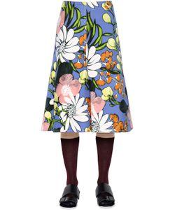 Marni   Floral Print Cotton Linen Drill Skirt