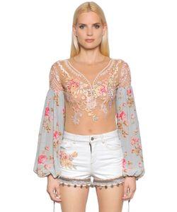 Amen | Embellished Tulle Chiffon Bodysuit