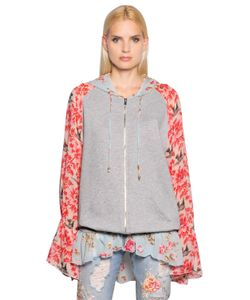 Amen | Floral Silk Chiffon Cotton Sweatshirt
