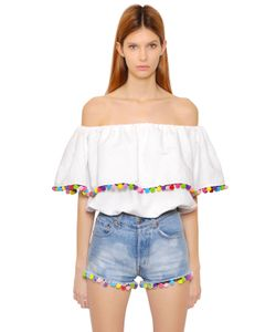 Forte Couture | Off Shoulder Cotton Toile Top W/ Pompoms