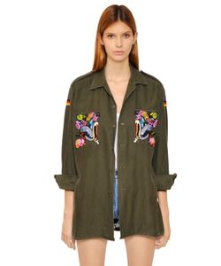 Forte Couture | Embroidered Military Cotton Shirt