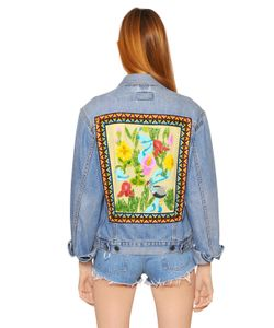 Forte Couture | Cotton Denim Jacket W/ Embroidered Back