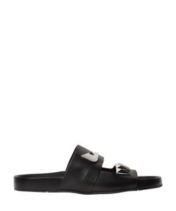 Fendi | Bugs Metallic Leather Slide Sandals