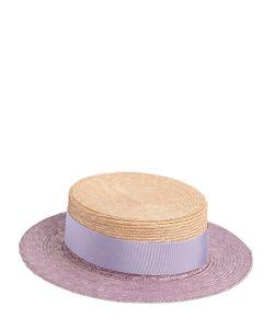 Federica Moretti | Bicolor Flat Top Woven Straw Hat