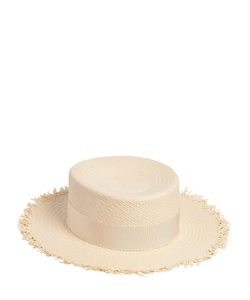 Federica Moretti | Fringed Flat Top Woven Panama Straw Hat
