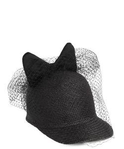 Federica Moretti | Bow And Veil Panama Straw Baseball Hat