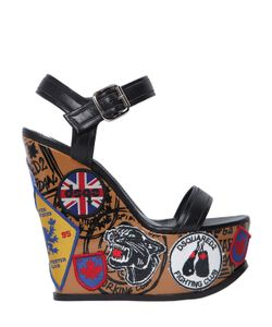 DSquared²   150mm Hackney Leather Wedge Sandals