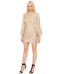 Alexandre Vauthier | Batwing Sleeves Shiny Jersey Dress