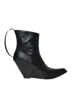 Unravel | 100mm Smooth Leather Wedge Boots