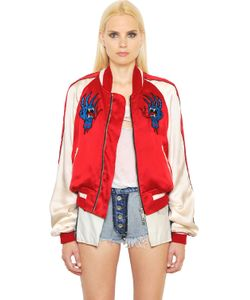 Unravel | Embroidered Silk Satin Bomber Jacket