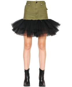 Unravel | Military Cotton Skirt With Tulle Hem