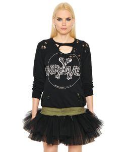 Unravel | Destroyed Bones Print Jersey Sweatshirt