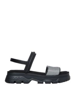 DKNY | 40mm Addie Nylon Leather Wedge Sandals