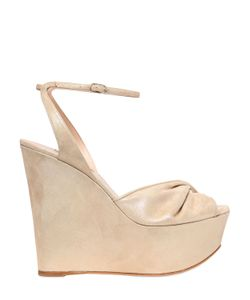 Casadei | 140mm Twisted Band Metallic Suede Wedges