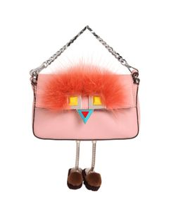 Fendi | Micro Baguette Faces Leather Bag W/ Fur