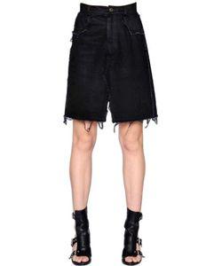 Damir Doma | Cotton Denim Skirt W/ Raw Cut Hem