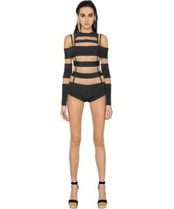 Balmain | Cutout Tulle Milano Jersey Bodysuit