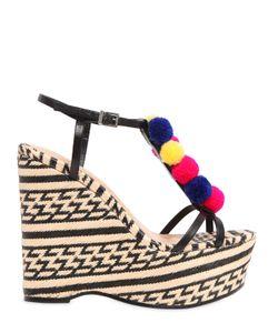 Schutz   130mm Pompom Leather Raffia Sandals