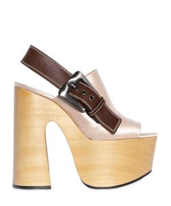Rochas | 160mm Satin Leather Platform Sandals