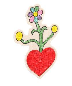 Olympia Le-Tan | Heart Flowers Beaded Pin