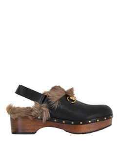 Gucci | 40mm Amstel Leather Fur Clogs
