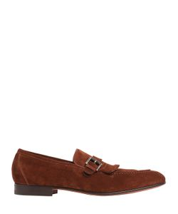 Santoni   Fringed Leather Brogue Loafers