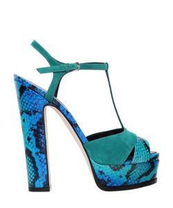 Sergio Rossi | 150mm Edwige Elaphe Suede Sandals