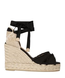CASTAÑER | 80mm Fringed Lace Up Canvas Wedges