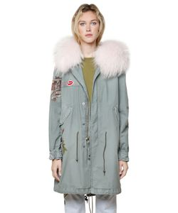 Mr & Mrs Italy | Printed Canvas Parka W/ Fur Collar