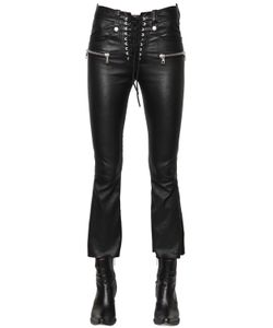 Unravel | Laced Cropped Stretch Leather Pants