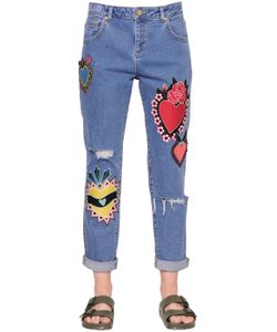 House Of Holland | Patch Embroidered Cotton Denim Jeans