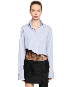 Filles A Papa | Cropped Cotton Shirt With Lace Hem