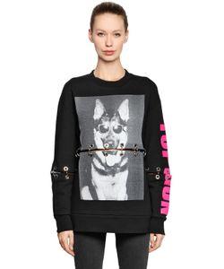 Filles A Papa | Dog Printed Cotton Sweatshirt W/ Rings