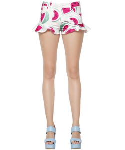 Love Moschino | Watermelon Printed Cotton Satin Shorts