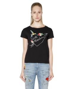 Love Moschino | Printed Embroidered Jersey T-Shirt